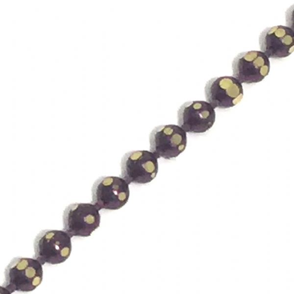 1.5mm faceted coloured ball chain - purple / brass (10)